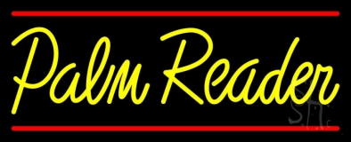 Yellow Palm Reader Red Line Neon Sign