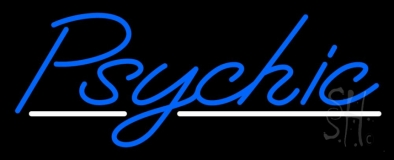 Blue Psychic White Line Neon Sign
