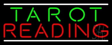 Green Tarot Red Reading And White Line Neon Sign
