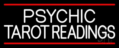Psychic Tarot Readings Block With Red Line Neon Sign