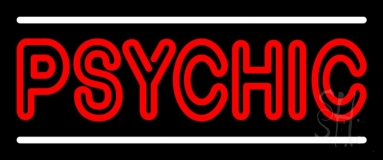 Red Double Stroke Psychic White Line Neon Sign