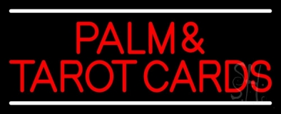 Red Palm And Tarot Cards Block With White Line Neon Sign