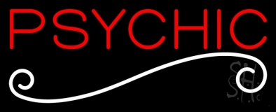 Red Psychic White Line Neon Sign