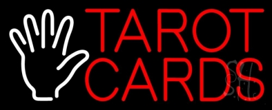 Red Tarot Cards White Palm Neon Sign