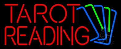 Red Tarot Reading With Cards Neon Sign