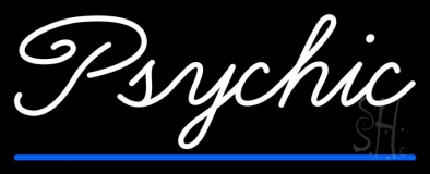 White Cursive Psychic Blue Line Neon Sign