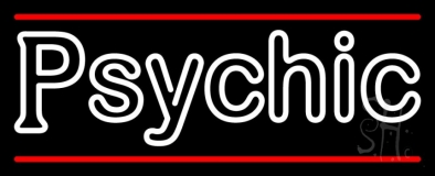 White Double Stroke Psychic And Red Line Neon Sign