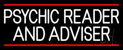 White Psychic Reader And Advisor With Red Line Neon Sign