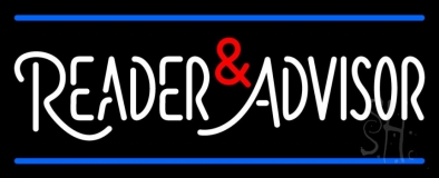 White Reader Advisor And Blue Line Neon Sign