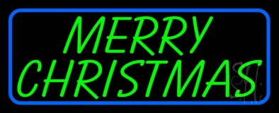 Blue Border Green Merry Christmas Neon Sign
