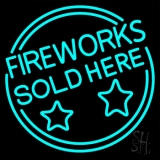 Fireworks Sold Here Circle Neon Sign