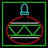 Green Border Christmas Bulb Neon Sign