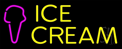 Yellow Ice Cream Cone Neon Sign