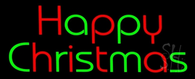Red And Green Happy Christmas Neon Sign