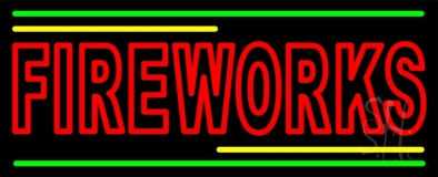 Red Double Stroke Fireworks Neon Sign