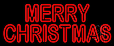 Red Double Stroke Merry Christmas Neon Sign