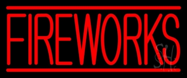 Red Fireworks Block Neon Sign