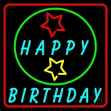 Turquoise Happy Birthday Neon Sign