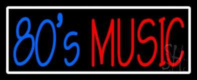 White Border Blue 80s Red Music Neon Sign