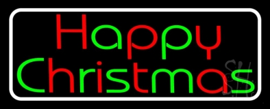 White Border Red And Green Happy Christmas Neon Sign