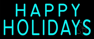 Happy Holidays Block Neon Sign