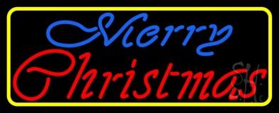 Merry Christmas Yellow Border Neon Sign