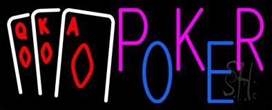 Poker With Cards Neon Sign