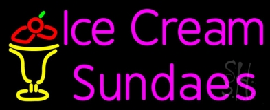 Pink Ice Cream Sundaes Neon Sign
