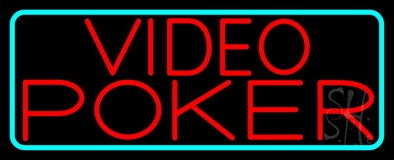 Red Video Poker Neon Sign