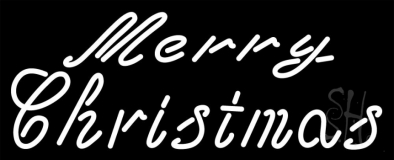 White Cursive Merry Christmas Neon Sign