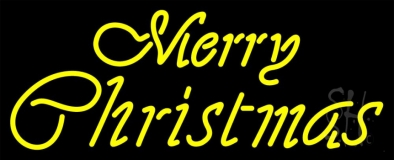 Yellow Cursive Merry Christmas Neon Sign