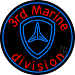 3rd Marine Division In Round Neon Sign