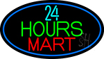 24 Hours Mini Mart With Blue Round Neon Sign
