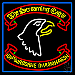 Airborne Division Screaming Eagle With Blue Border Neon Sign