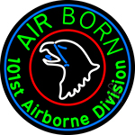 Airborne With Blue Round Neon Sign