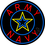 Army And Navy With Blue Round Neon Sign