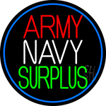 Army Navy Surplus Blue Round Neon Sign