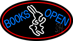 Blue Books With Rabbit Logo Open With Red Oval Neon Sign