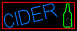 Blue Cider With Red Border Neon Sign