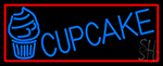 Blue Cupcake With Cupcake With Red Border Neon Sign