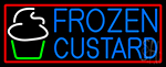 Blue Frozen Custard With Red Border Logo 2 Neon Sign