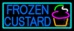 Blue Frozen Custard With Turquoise Border Logo 3 Neon Sign