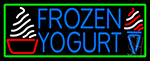 Blue Frozen Yogurt With Green Border Logo Neon Sign