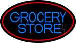 Blue Grocery Store With Red Oval Neon Sign