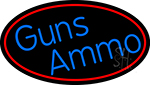 Blue Gun Ammo With Red Oval Neon Sign
