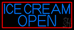 Blue Ice Cream Open With Red Border Neon Sign