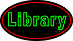Blue Library With Red Oval Neon Sign