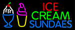Double Stroke Ice Cream Sundaes Neon Sign