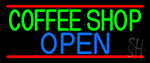 Green Coffee Shop Open Neon Sign