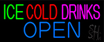 Green Ice Red Cold Drinks Open Neon Sign